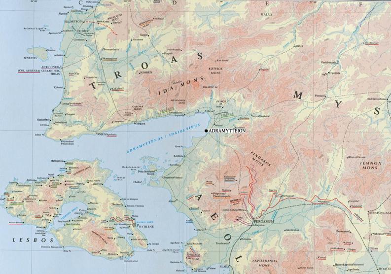 Resim 1: Adramytteion ve Çevre Alanı Haritası (Barrington Atlas)